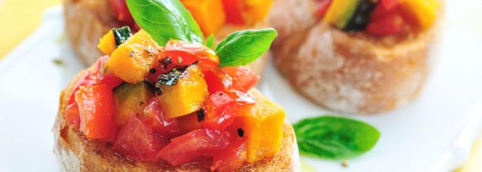 Tomato and Roasted Pepper Bruschetta